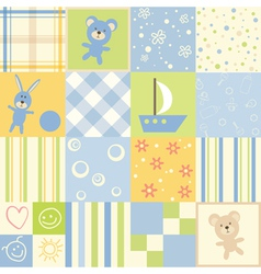 Baby seamless set of child patterns vector