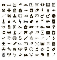 100 medicine icons set simple style vector image