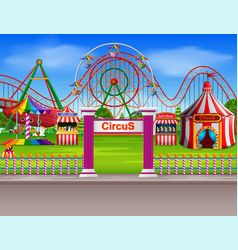 Amusement park scene at daytime with many rides vector