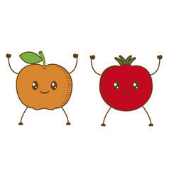apple orange cartoon vector image