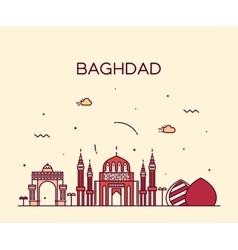 Baghdad skyline linear style vector image