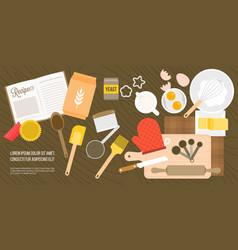 bakery ingredient and utensils in top view vector image vector image