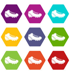Baseball cleat icon set color hexahedron vector