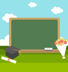 celebrations of graduation with blackboard vector image
