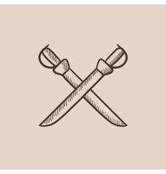 Crossed saber sketch icon vector