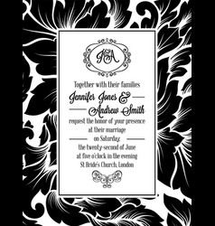Damask pattern design for wedding invitation vector