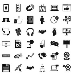 Data exchange icons set simple style vector