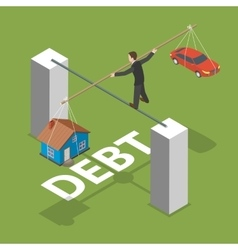 Debt isometric flat concept vector image