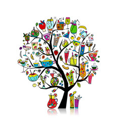 drinks collection art tree for your design vector image