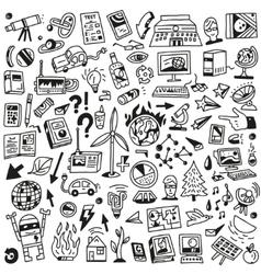 Ecology - big doodles set vector image