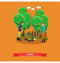 Farm concept in flat style vector image