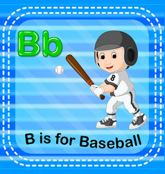 Flashcard letter b is for baseball vector