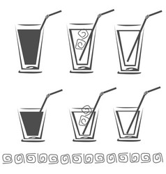 glass of juice icon set vector image vector image