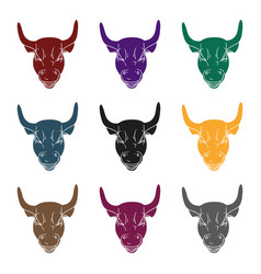 Golden charging bull icon in black style isolated vector