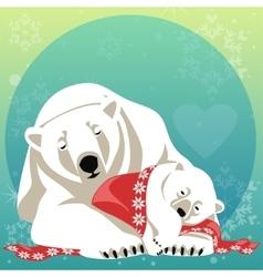 Greeting card with polar bear family vector