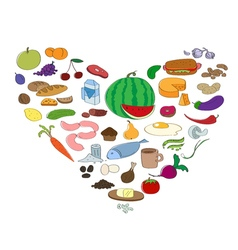 Hand drawn food collection in heart symbol fruit vector