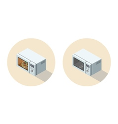 Isometric of microwave oven 3d flat kitchen vector