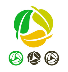 leaves recycling icon vector image vector image