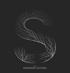 Letter s of branch or cracked alphabet s vector