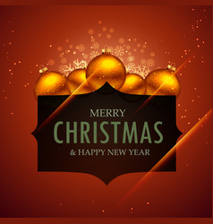 Merry christmas and new year greeting with balls vector