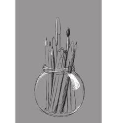 Pencils in jar vector image