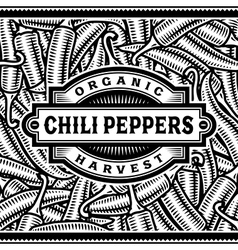 Retro Chili Pepper Harvest Label Black And White vector image