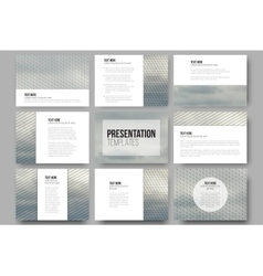 Set of 9 templates for presentation slides Gray vector image vector image