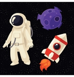 Set of cartoon astronaut rocket and planet in vector