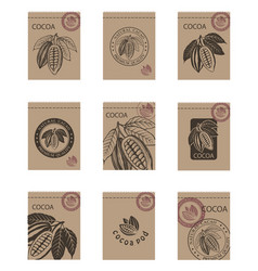 Set of cocoa packages vector