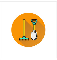 Shovel and rake icon isolated on white background vector