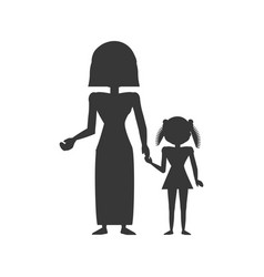 Silhouette mom and daughter vector