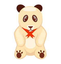 Soft toy panda bear with red ribbon vector