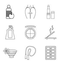 Wellbeing icons set outline style vector
