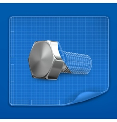 Bolt drawing blueprint vector image