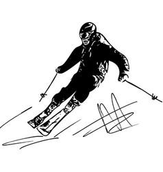 Skiing sketch vector