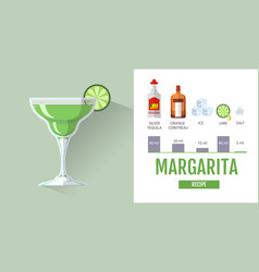 Flat style cocktail margarita menu design vector