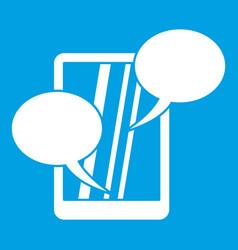speech bubble on phone icon white vector image