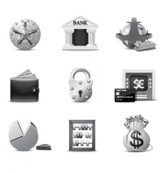 Banking icons  bw series vector