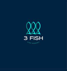 3 fish seafood market logo vector image vector image