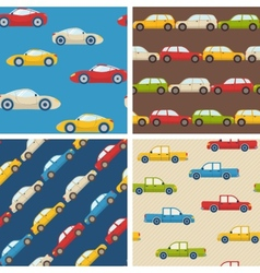 Set of seamless patterns with cars vector