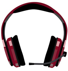 Headphones with microphone vector