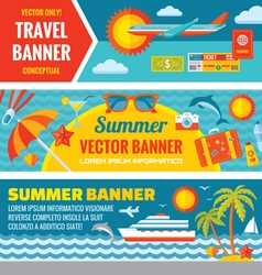 Summer travel - decorative bannrs vector