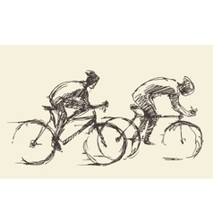 Bicyclist rider mans bike hand drawn sketch vector