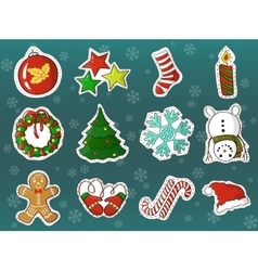 Xmas holidays decorations cartoon set vector
