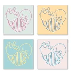 Set of 4 posters with hand drawn lettering vector