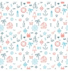 Hand drawn nautical seamless pattern of marine vector image