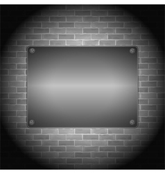 Metal board on brick wall vector
