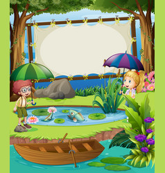 Banner template with kids by the pond vector