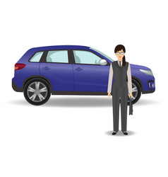 Businesswoman on a luxury car background office vector