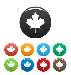 canada maple leaf icons set simple vector image